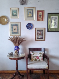 A wall adorned with beautiful paintings