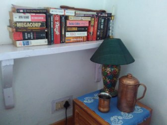The collection of books by the bed